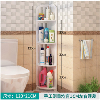Zhuanjiao floor-punched three layer corner multi-layer storage rack bathroom shelf