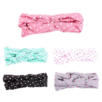 5PCS Kids Baby Girl Cotton Twisted Headband Turban Dot KnotHeadwear - intl