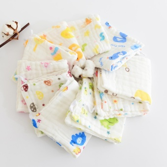6-layer Washed Jacquard Cloth Handkerchief Baby Bib - intl