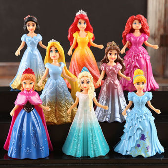 8PCs Princess Action Figures Dress Doll Toy For Kids Children Baby Girl