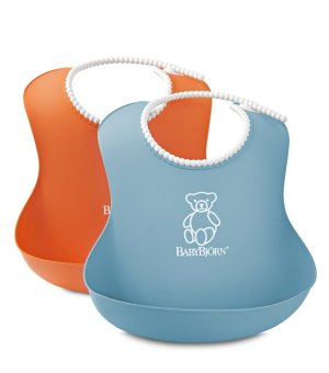 Baby Bjorn Soft Baby Bib (Orange/Turquoise, 2-pack)