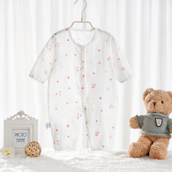 Baby coveralls spring and autumn days newborn children clothingpajamas children male and female baby climbing clothes cotton gauzeromper summer