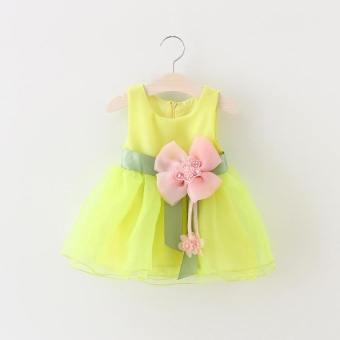 Baby Girl Floral Print dress(yellow) - intl