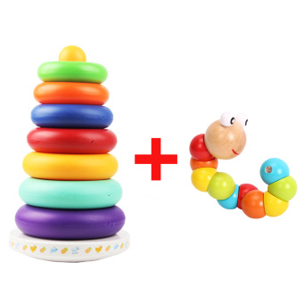 Baby of music rainbow tower rings toys of ring of high baby toys 6-12 a month early childhood Yi Zhi