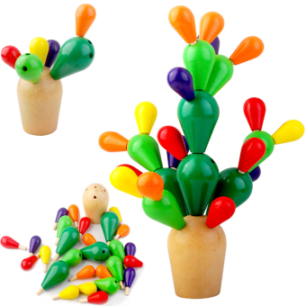 Baby wooden fight inserted removable cactus early childhood toys