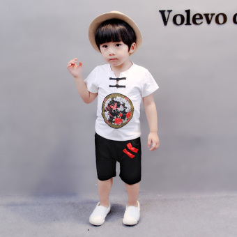 Boys female baby summer children's short-sleeved costume two-piece Sets