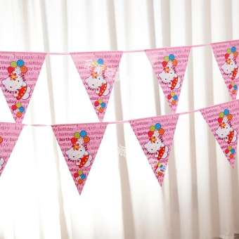Children's birthday decoration with layout triangle string flag