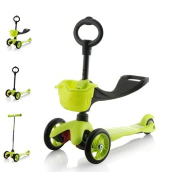 CMAX 3IN1 Flashing LED Wheels Kids Scooter (Green)