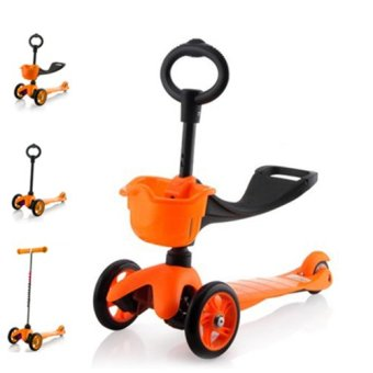 CMAX 3IN1 Flashing LED Wheels Kids Scooter (Orange)