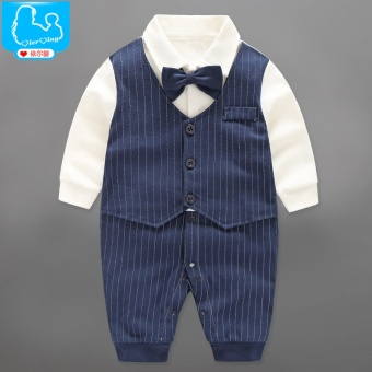Cotton baby gentleman baby one-piece spring and autumn clothes