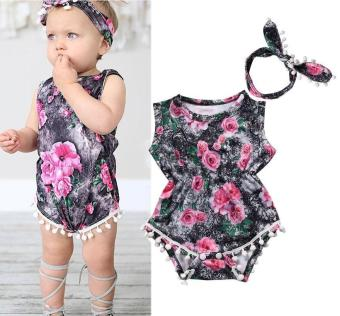Floral Baby Girls Bodysuit One-piece Romper Sunsuit Outfits - intl
