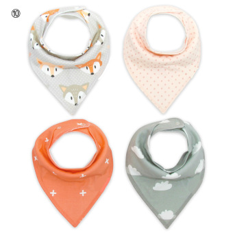[Four-Piece 100% COTTON]Baby triangular bandage Pure cotton saliva towel bib 10#