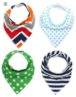 [Four-Piece 100% COTTON]Baby triangular bandage Pure cotton saliva towel bib 5#