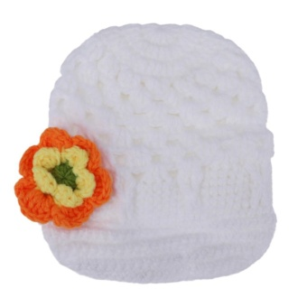Handmade Knit Baby Kids Hats Autumn Baby Wool Cap Solid Flower Cap - intl