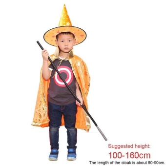 Kids Halloween Costume Wizard Witch Cape Cloak Coat Gown Robe and Hat Set - intl