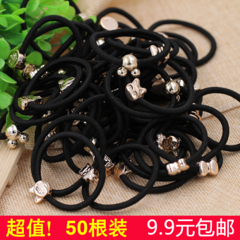 Korean High Elastic tie ponytail simple black hair Ring