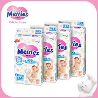 Merries Tape Diapers L54s x 4 packs (9 - 14 kg)
