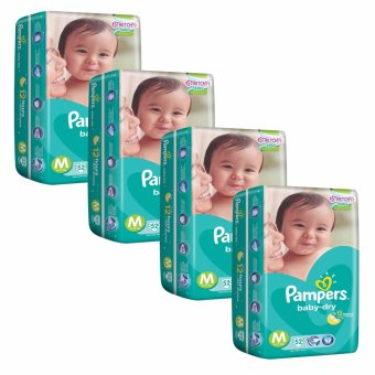 Pampers Baby Dry Diapers M 52's (6-11kg) x 4 Packs