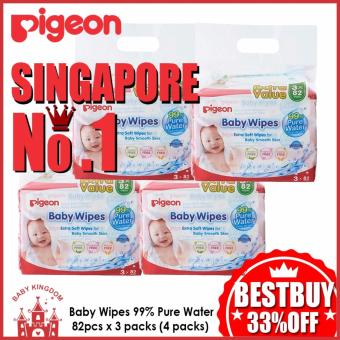 Pigeon Baby Wipes 99% Pure Water 82pcs x 3 packs (4 packs)