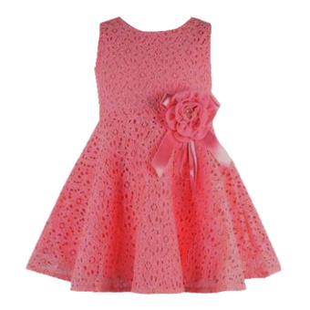 Rorychen Baby Kids Girls Sleeveless Flower Lace Dress(Watermelon Red)