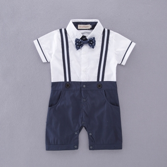 Spring and summer boys gentleman baby Siamese romper bow tie plaid pants climbing clothes male baby Hundred Days clothes full moon dress