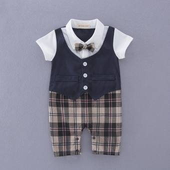 Summer baby gentleman cotton short-sleeved sleeve Siamese clothes newborn baby jumpsuit romper out climbing clothes Siamese clothes