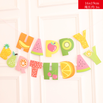 Summer theme birthday party triangle flag banner