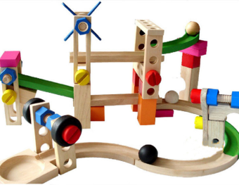 Wooden intelligence educational children's early childhood toysXY07 roller coaster track building blocks ball track buildingblocks car