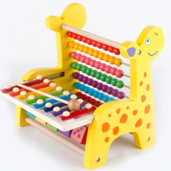 Wooden knock piano around the bead beaded computing rack eightsound small xylophone Taiwan infants and children's educationalearly childhood toys 1-2-3-year-old