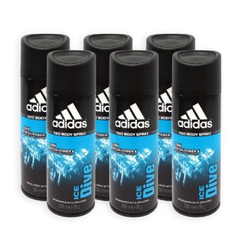 Adidas MEN Body Spray - Ice Dive 24h Deodorant Spray 150ml x 6Bottles