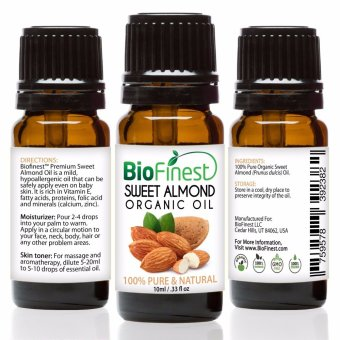 Biofinest Sweet Almond Organic Oil (100% Pure Organic Carrier Oil) 10ml