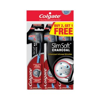 Colgate SlimSoft Charcoal Extra Soft Toothbrush Buy 2 Free 1