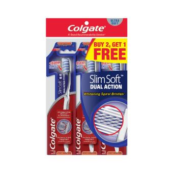 Colgate SlimSoft Dual Action Extra Soft Toothbrush Buy 2 Free 1