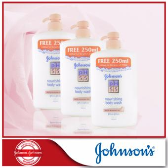 Johnson's pH5.5 Nourishing Body Wash With Almond Oil 750+250ml x 3