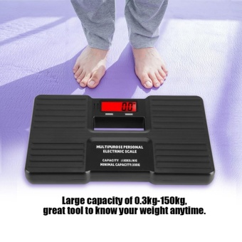 Justgogo- Electronic Digital Body Fat Weight Scale LCD Digital Display Personal Digital Weighing Scale Black