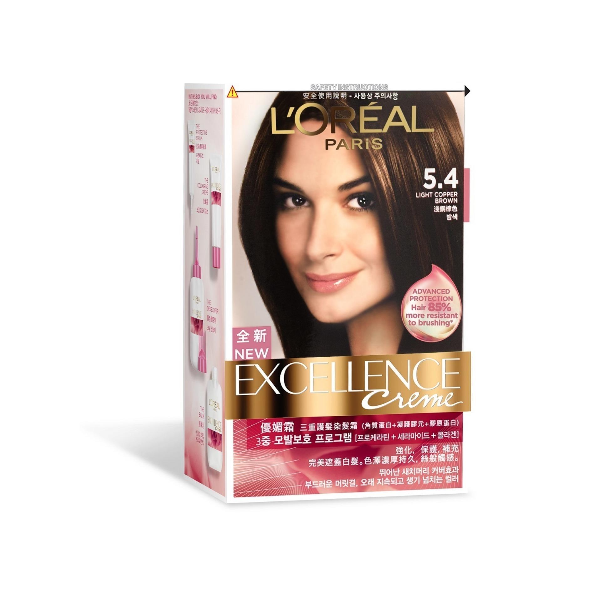 LOreal Paris Excellence Hair Colour - Light Copper Brown #5.4 ...