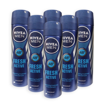 Nivea MEN Deodorant Spray - Fresh Active 150ml x 6 Bottles - 9195