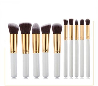 Rorychen 5 Large 5 Small Women Makeup Brush Set Beauty Brush Tools(Sliver)