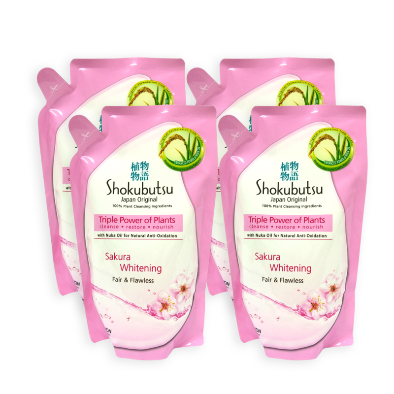 Buy (Pack of 4) Shokubutsu Sakura Whitening Fair and Flawless Body Foam Refill 550g - 8510 Singapore