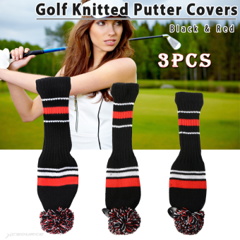 3x Golf Club Knitted Headcover Head Covers For Titleist TaylormadeBlack&Red
