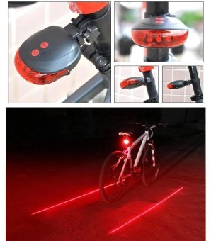 5 LED Rear Bike Bicycle Tail Light Beam Safety Warning Red Lamp-RedLine - intl