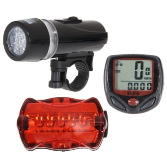 Bicycle Speedometer + 5 Bike Light Head + Rear Lamp - intl