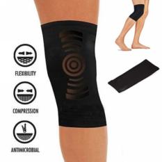 Durable Elastic Copper Fit Sports Knee Compression Support Brace Black
