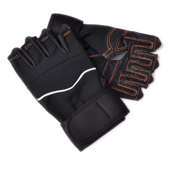 Outdoor Sport Gym Workout Weight Lifting Training Fingerless Gloves Black