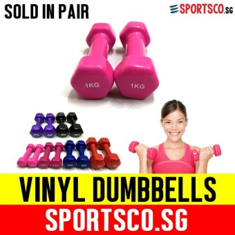 SPORTSCO Mini Vinyl Coated Dumbbell 1KG each - Sold in Pair (Pink) (SG)