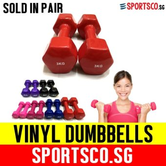 SPORTSCO Mini Vinyl Coated Dumbbell 3KG each - Sold in Pair (Red) (SG)