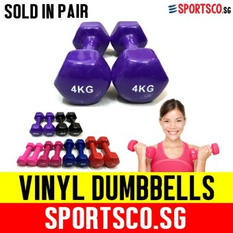SPORTSCO Mini Vinyl Coated Dumbbell 4KG each - Sold in Pair (DarkPurple) (SG)