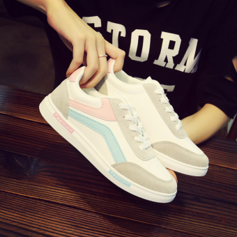 12 Teenager junior high school students fall shoes big kid canvas shoes (White pink 399)