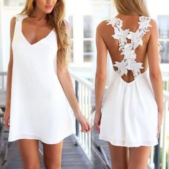 1864 AliExpress ebay spring explosion models white lace halter sleeveless dress
