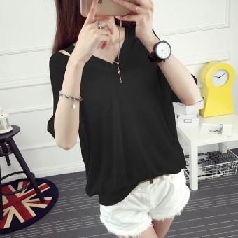 3704defc26b 2017 korean womens fashion wild hollow thin sweater loose bat sleeve vneck  shirt blouse women Black